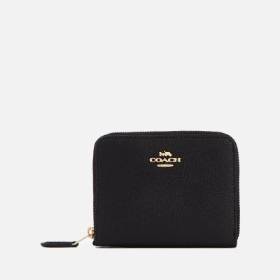 Coach Women's Crossgrain Leather Small Zip Around Wallet - Black