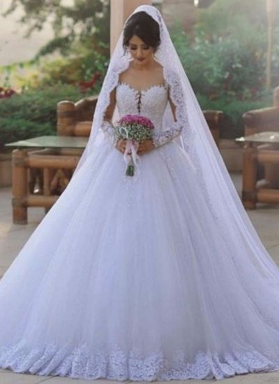 Elegant Beading Ball Gown Wedding Dresses  Long Sleeves Lace Bridal Gowns