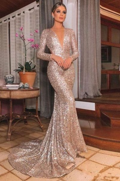 Gold V Neck Sequined Mermaid Prom Dresses  Long Sleeve Backless Party Dress