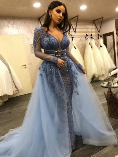 Gorgeous Lace Mermaid Prom Dresses  V-Neck Long Sleeves Beading Over Skirt Evening Dresses