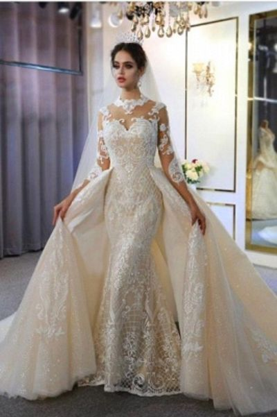 Long Sleeveless Halter Lace Wedding Gowns 2021 Mermaid with Train