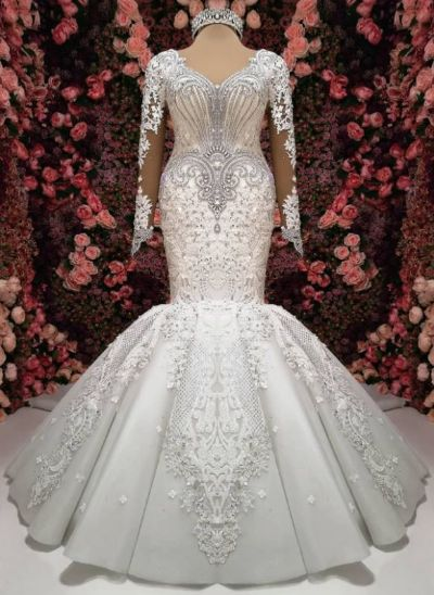 Luxury Crystals Mermaid Wedding Dresses  Long Sleeves Chapel Train Bridal Gowns