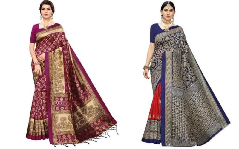 16 Affordable Awesome Art Silk Sarees from Ajio