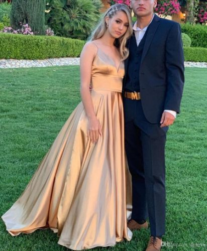 2019 Sexy Gold Satin A Line Prom Dresses Long Evening Dress Gowns Long Gala Party Formal Dress