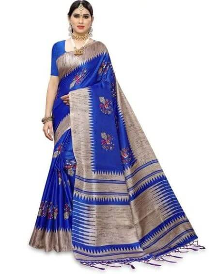 APNISHA Block Print Saree with Tassels Detail