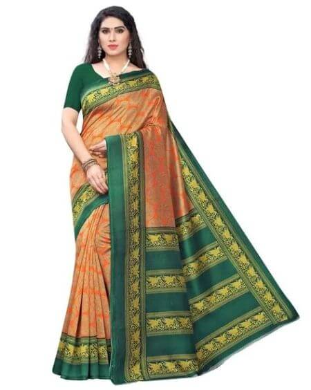 APNISHA Printed Saree with Contrast Border