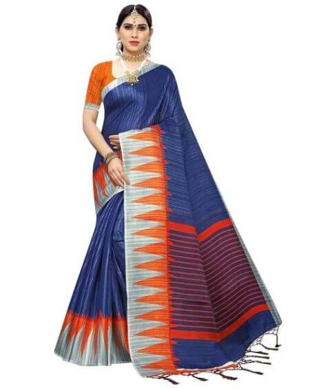 APNISHA Traditional Saree with Striped Detail
