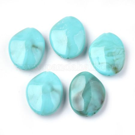 Acrylic Beads, Imitation Gemstone, Nuggets, DarkTurquoise, 27.5x22x9mm, Hole: 1.2mm (X-OACR-S022-23A)