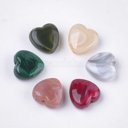 Acrylic Beads, Imitation Gemstone Style, Heart, Mixed Color, 14x14x7mm, Hole: 2mm (OACR-T011-38)