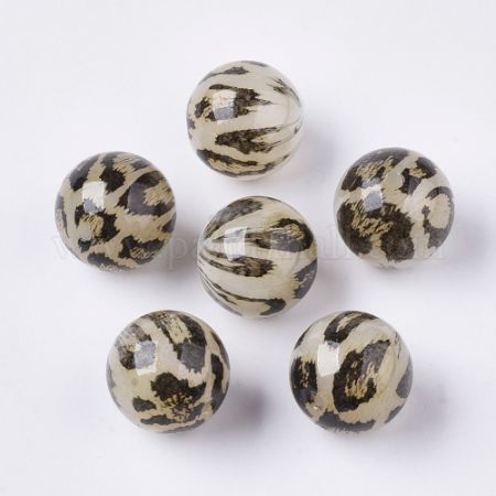 Acrylic Beads, Imitation Leopard Skins, Round, Chocolate, 20mm, Hole: 3mm. (X-OACR-N006-01B)