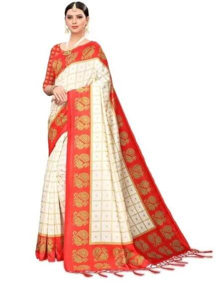 BLISSTA Art Silk Printed Saree with Tassels
