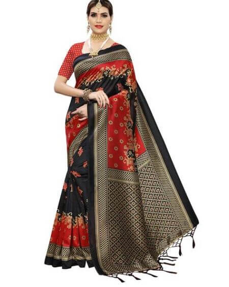 BLISSTA Floral Print Saree With Tassels