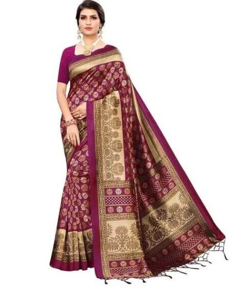 BLISSTA Printed Art Silk Saree