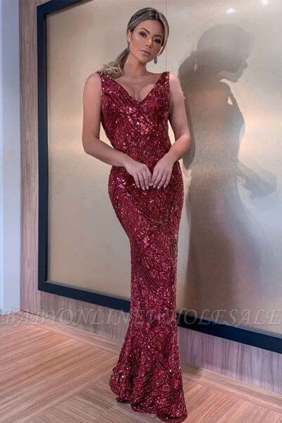 Burgundy Sequined Sleeveless V-neck Prom Dresses Online with Draped Open Back