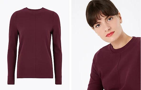 Cotton Textured Straight Fit Sweatshirt