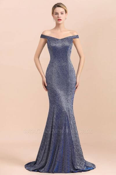 Elegant Off-the-shoulder Sparkly Sequin Long Gray Prom Dress with Floor length Train
