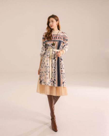 Ethnic Print Layered Dress