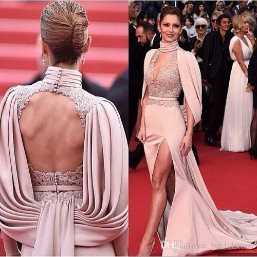 Fashion Red Carpet Mermaid Prom Dresses High Neck Open Back Celebrity Evening Gowns Sexy Keyhole Front High Slits Lace prom dresses 2019
