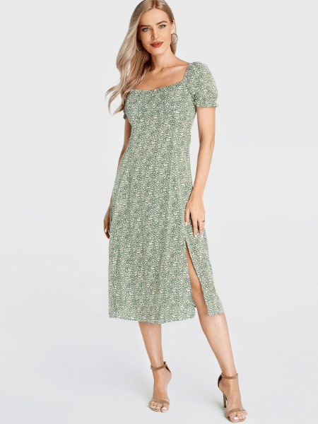 Green Calico Square Neck Puff Sleeves Dress