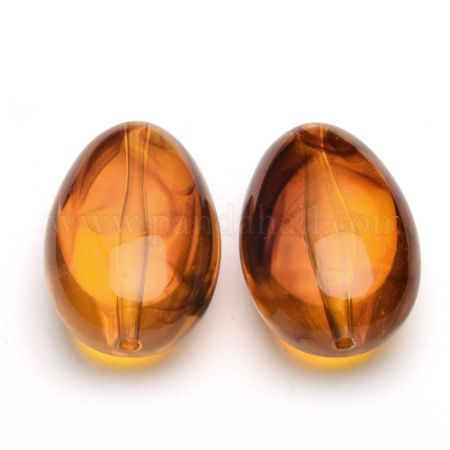 Imitate Amber Acrylic Beads, Oval, Goldenrod, 42x26x17mm, Hole: 2.5mm (X-OACR-S015-02)