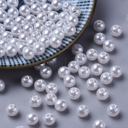 Imitation Pearl Acrylic Beads, Dyed, Round, White, 6x5.5mm, Hole: 1.5~2mm; about 4500pcs/pound