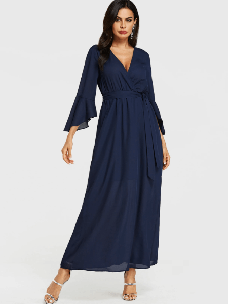 Navy Belt Design Deep V Neck Wrap Dress