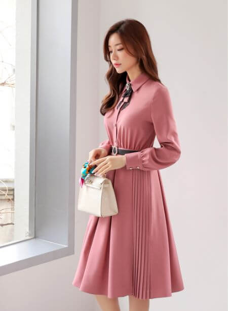 Pleated Detail Wrap Design Collared Dress