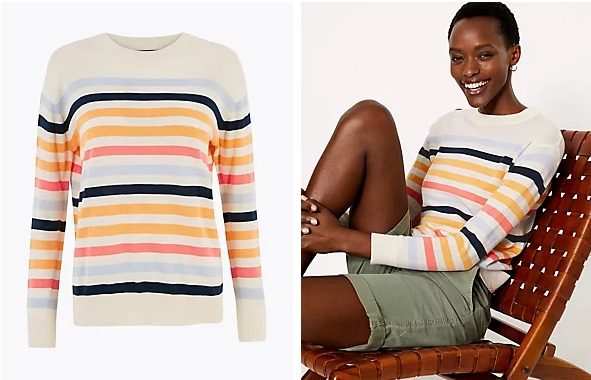 Pure Cotton Striped Relaxed Jumper