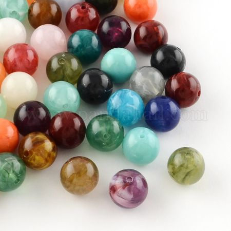 Round Imitation Gemstone Acrylic Beads, Mixed Color, 8mm, Hole: 2mm (X-OACR-R029-8mm-M)