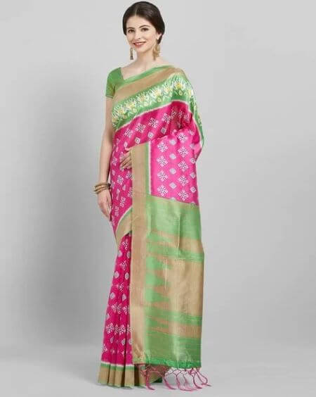 SAREE MALL Saree Mall Pink & Green Daily Art Silk Printed Saree