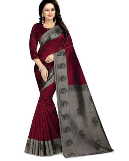 SAREESWARG Saree with Contrast Border