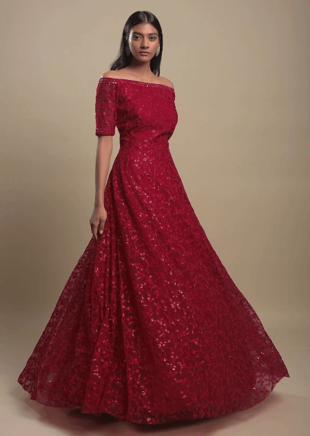 Scarlet Indowestern Gown In Net With Off Shoulder Neckline And Thread Work In Floral Jaal Online