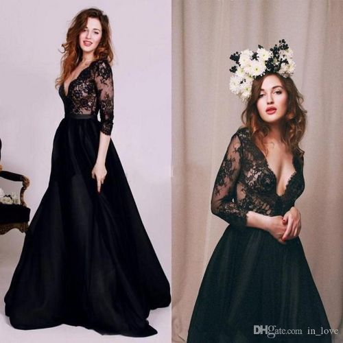 Sexy Style Black Prom Dresses Long Sleeve V Neck Lace A Line Floor Length Party Gown New Fashion Custom vestidos de formatura
