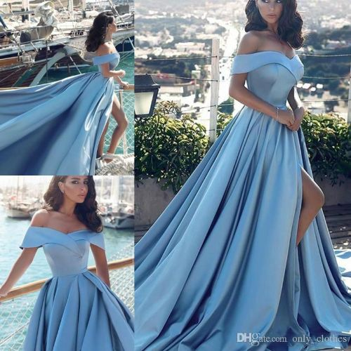Sky Blue High Split Evening Gowns 2020 Off The Shoulder Simple Prom Dresses Sweep Train Satin Women Formal Party Dress Cheap Vestidos