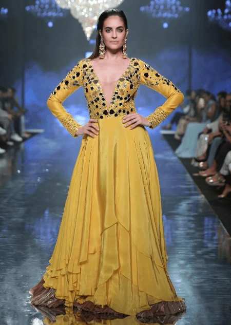 Sunset Yellow Gown With Floral And Leaf Cut Mirror Work And Plunging Neckline Online