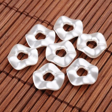 Twist Ring Imitation Pearl Acrylic Beads, White, 13x3mm, Hole: 4.5mm; about 2050pcs/500g (OACR-L004-5357)