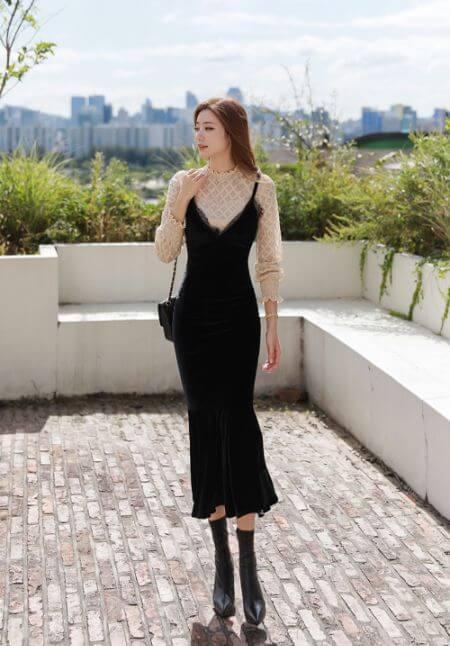 Velvet Slip Dress with Lace Detail