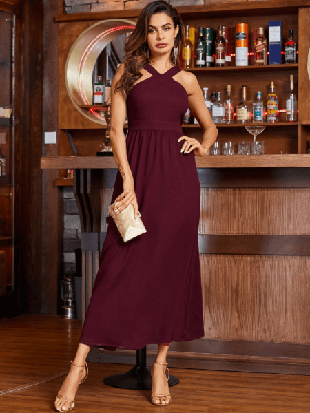 YOINS Burgundy Backless Design Halter Dress