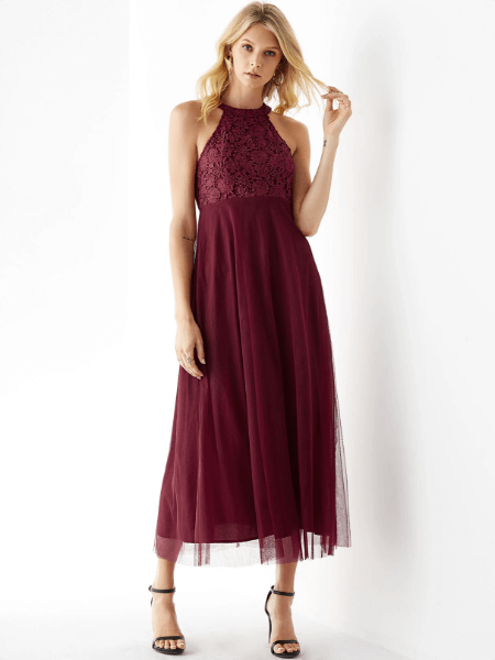 YOINS Burgundy Mesh Halter Sleeveless Lace Dress