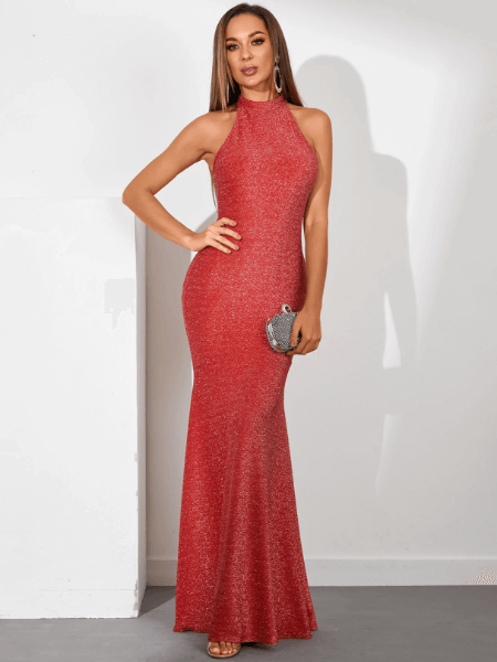 YOINS Red Glitter Halter Sleeveless Maxi Mermaid Dress